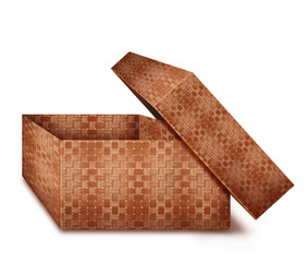Square wicker box with lid open