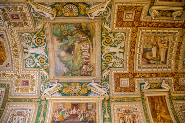 Many Paintings on Curved Vatican Ceiling