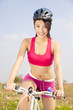 beautiful woman biker riding Folding Bicycle  in outdoor