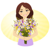 Cute girl with bunch of wild flowers