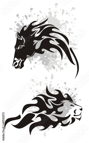 Tribal horse and lion heads symbols with splashes