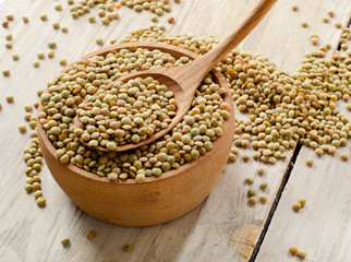 lentils on a wooden table