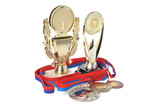 Cups and medals isolated on white