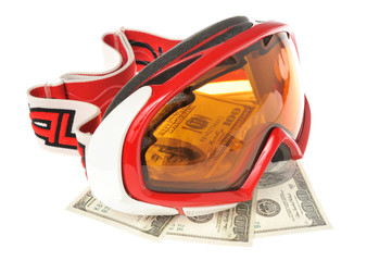 Alpine ski mask isolated with money on white