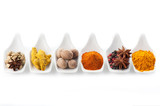 Assorted spices. Сurry, paprika, nutmeg, cinnamon