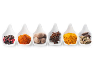 Spices curry, paprika, nutmeg, cinnamon, cardamom