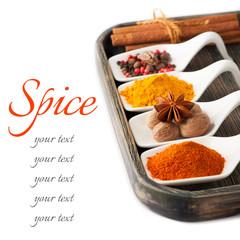 Spices  Сurry, paprika, nutmeg, cinnamon, cardamom