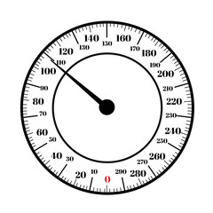 Round analog dial interface of scale vector editable format