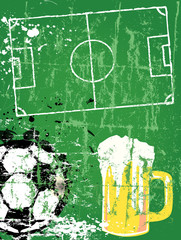 Soccer / Football and beer, grunge style, vector