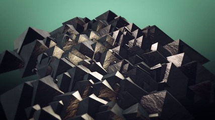 Floating pyramids morph into scattered cubes