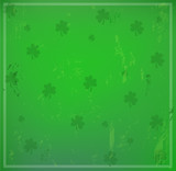 Irish green background with shamrocks