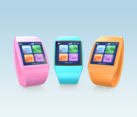 Colorful smart watch on gradient background