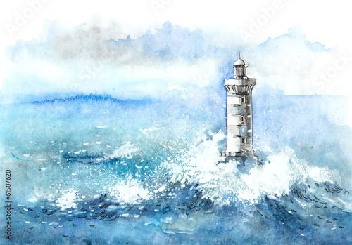 Tuinposter Vuurtoren / Mill lighthouse