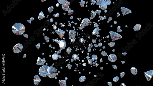 Diamonds Flying towards camera against black