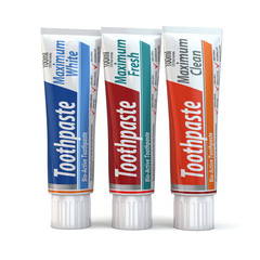 Three toothpaste containers