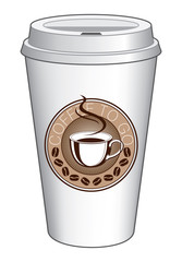 Coffee To Go Cup Design With Steaming Cup