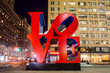 Love sculpture at night in New York - 61509283