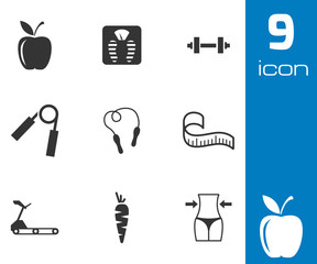 Vector black diet icons set