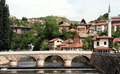 Sarajevo cityscape at Miljacka river