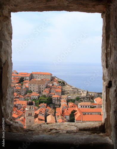cityscape of Dubrovnik viewed from window, Croatia