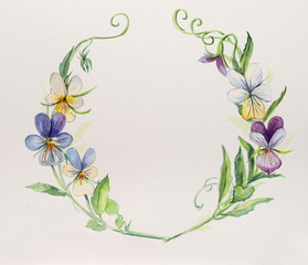 Frame from violets. Wedding drawings. Water color painting.