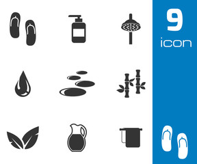 Vector black spa icons set