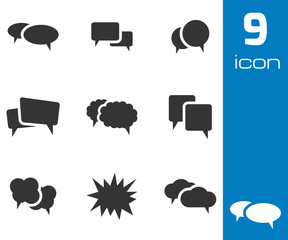 Vector black speech bubble icons set