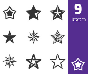 Vector black stars icons set
