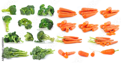 Broccoli and carrot isolated on white background