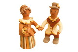 Isolated traditional nandmade Russian clay figures