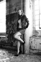 Beautiful brunette in a old building