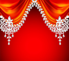 red background with precious stones for invitations
