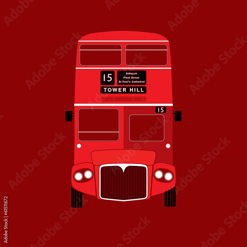 London symbol  -  red bus  icon – double decker - vector