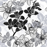 Monochrome seamless background with hand drawn orchids.