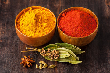 Spices Turmeric, paprika, anise, bay leaf, cardamom.