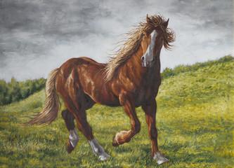 dipinto di un cavallo tra una distesa d'erba