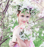 beautiful girl with spring flower