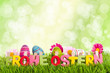 Frohe Ostern Bokeh grün