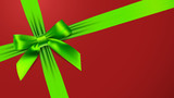 Green bow on red background
