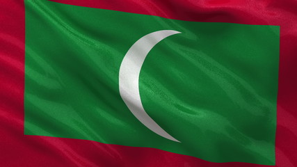 Flag of Maldives waving in the wind - seamless loop