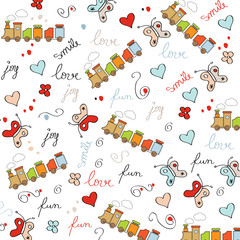trains, wagons and rails , doodle  seamless pattern