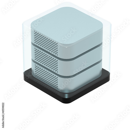 Simple Icon of Secured Server Isolated on White