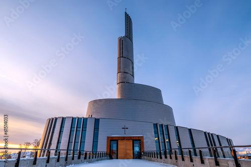 Staande foto Scandinavië Northern Lights Cathedral, Alta, Norway