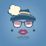 Background with fashion woman and speech bubble, hipster style.