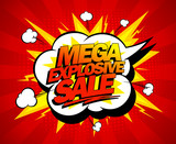 Fototapety Mega explosive sale design, comics style.