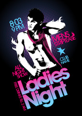 Ladies night party design with topless macho man.