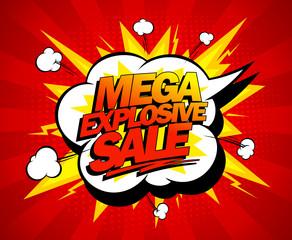 Mega explosive sale design, comics style.