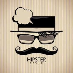 Hipster style vector background with mustached man and speech bu