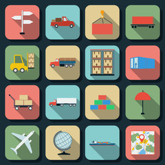 Transportation and logistics flat vector icons