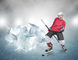 Screaming hockey player on abstract ice background
